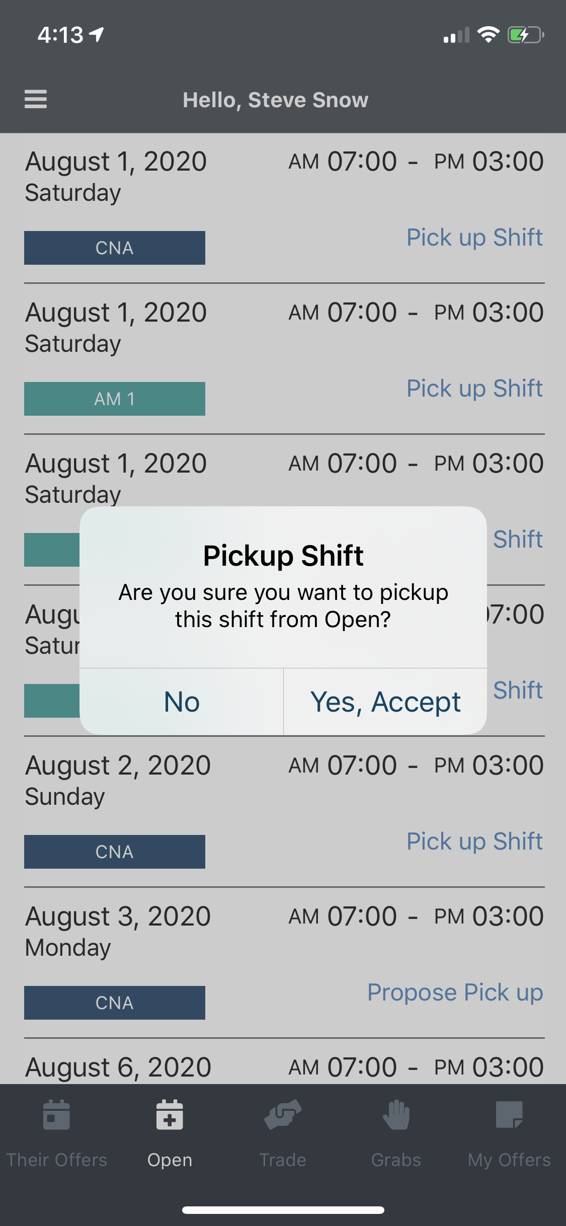 EasyShifts Software - Employees can pick up open shifts