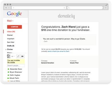 Donation receipts are automatically sent to donors via email