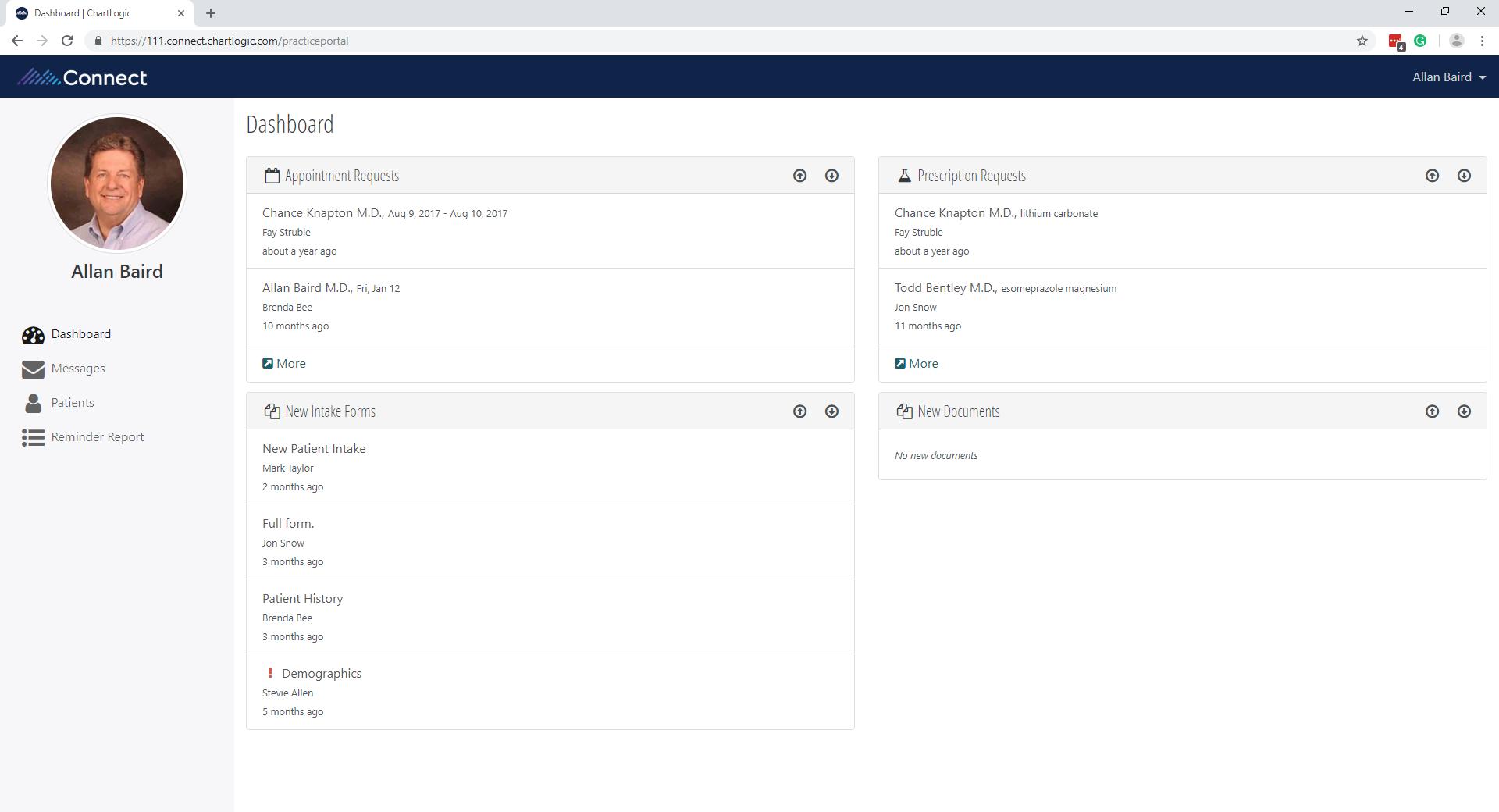 ChartLogic EHR Software - Patient portal dashboard