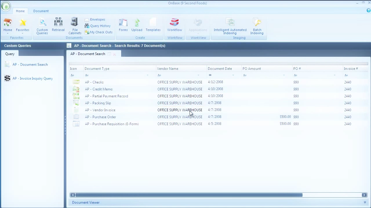 OnBase screenshot: OnBase document search