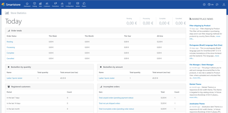 Smartstore screenshot: Users can access store statistics including customer analytics, bestselling products, and more
