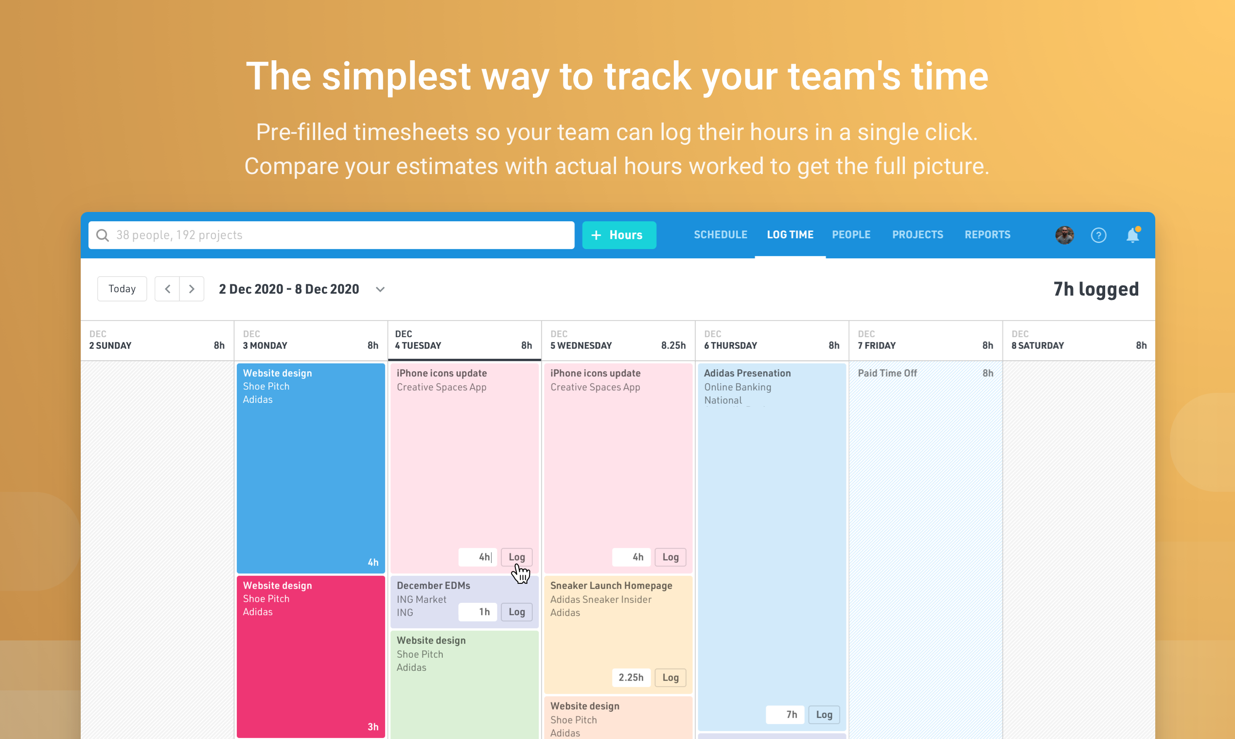 Float time tracking integrates with your resource schedule to give you a clear picture of your team's estimated time vs. actuals. Timesheets are pre-filled based on your team's planned workload, and hours can be logged in a single-click.