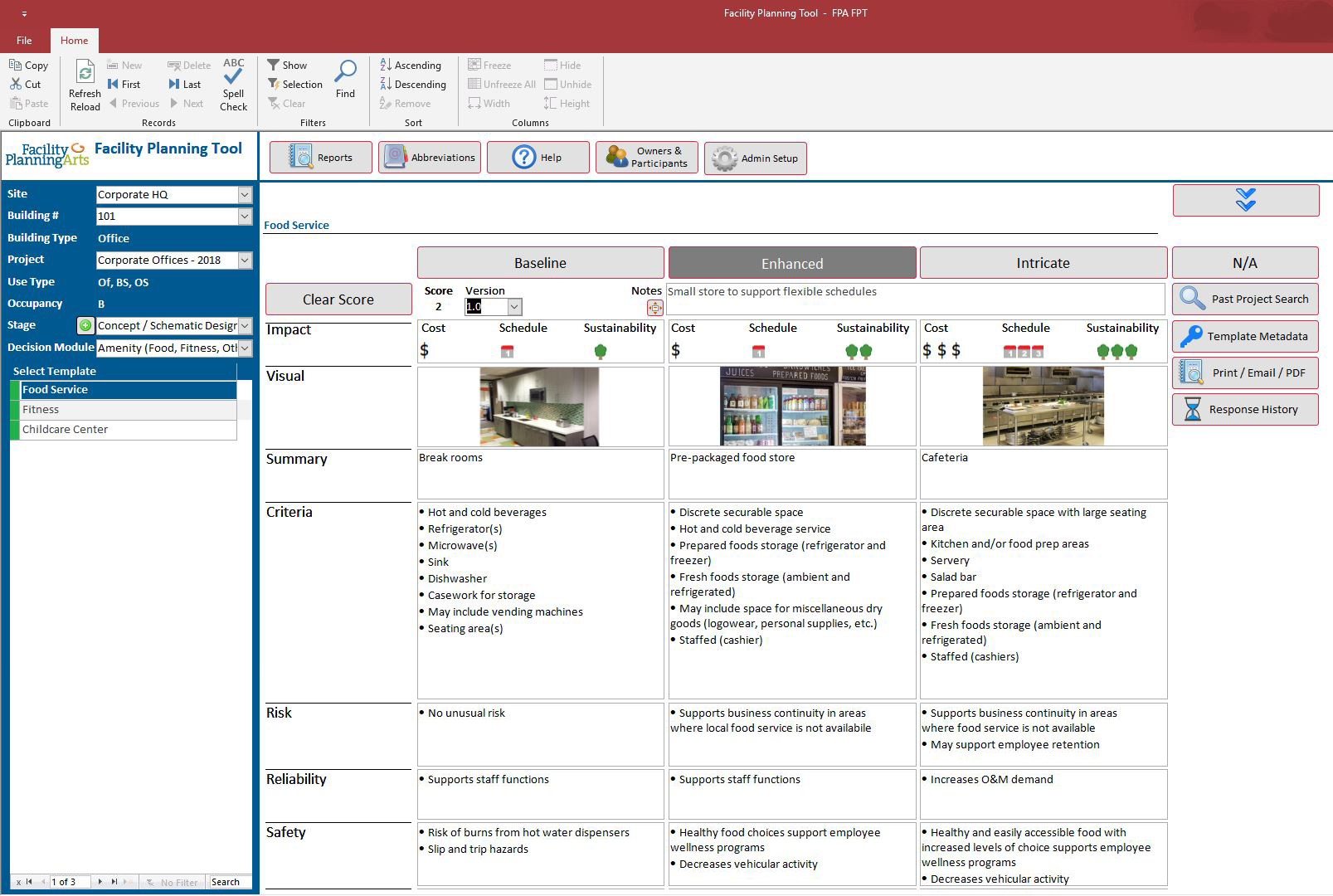 Sample template illustrating how information is organized in the Facility Planning Tool, with over 90 templates included in the program