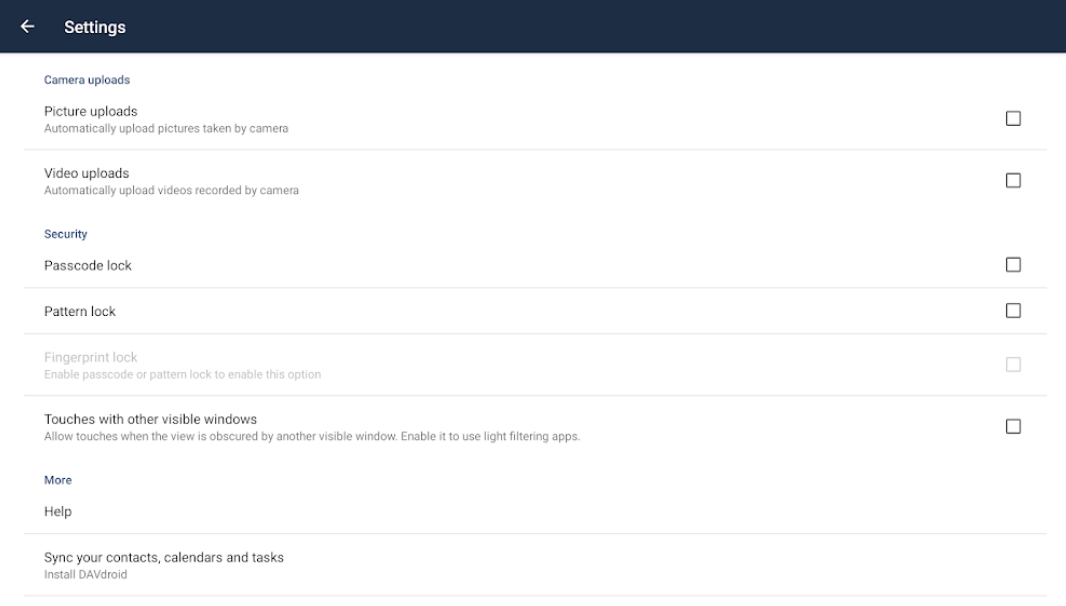 ownCloud settings