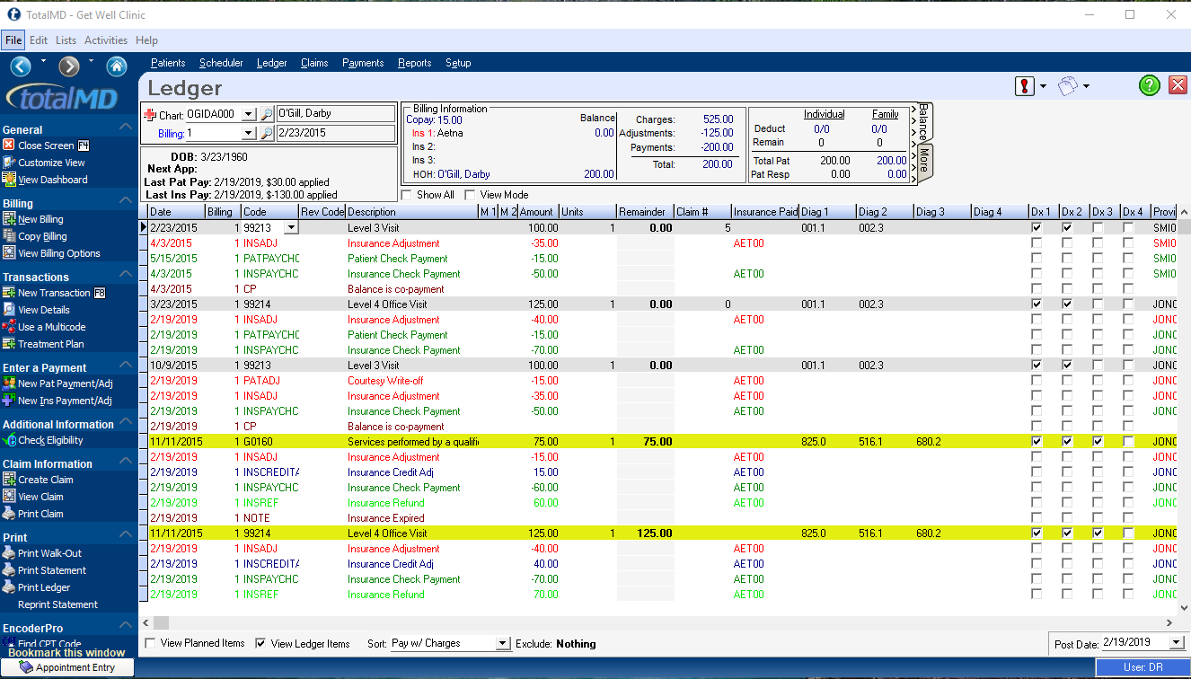 TotalMD simplifies the ledger by displaying dollars collected and writeoffs directly below their corresponding procedure