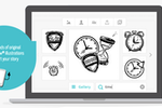 simpleshow video maker screenshot: Users have access to thousands of original illustrations, but can also upload their own images, logos or text