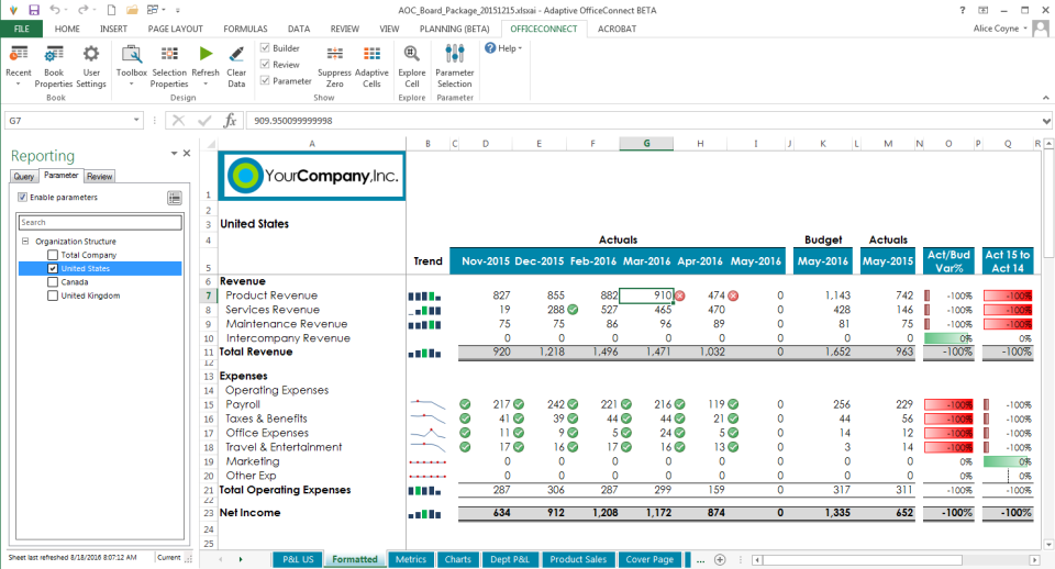1-click reports in Office