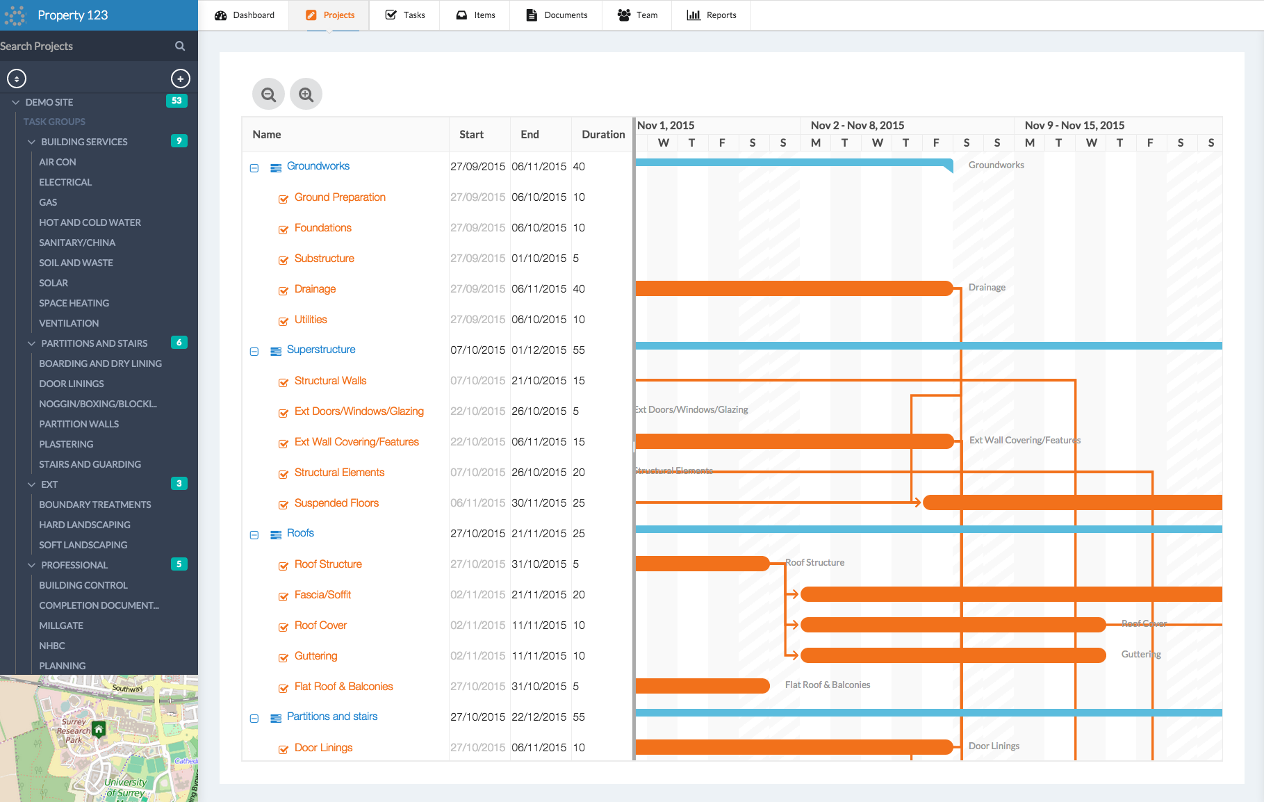 ManagePlaces includes a built-in Gantt chart for project planning and scheduling