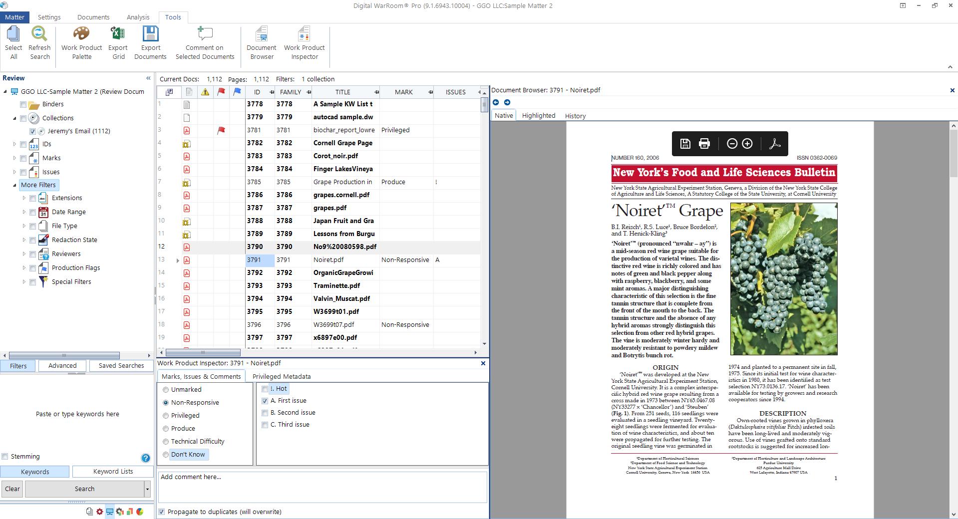 Digital WarRoom document review view