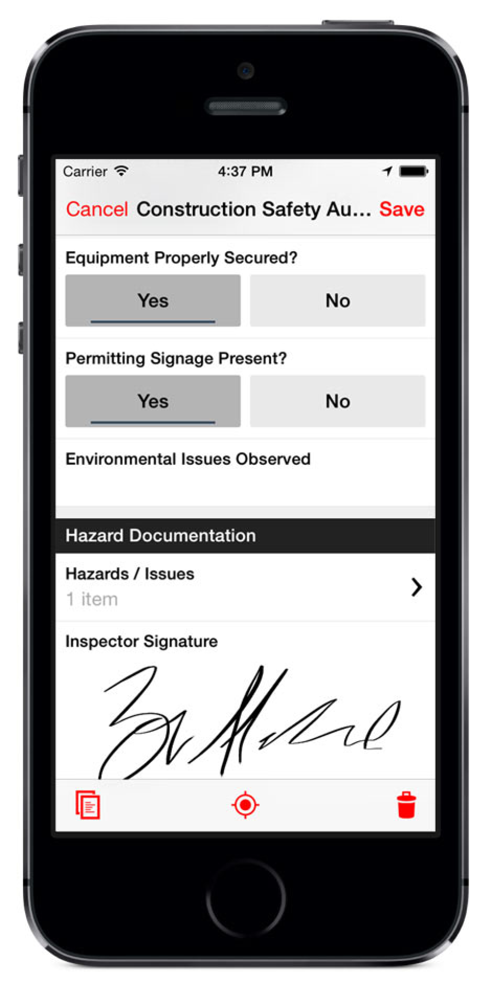Signatures can be captured electronically through Fulcrum's native mobile apps