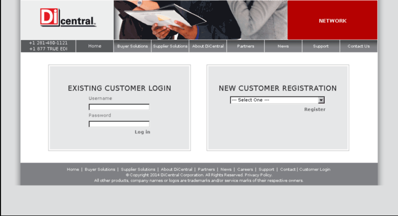 DiCentral login page screenshot