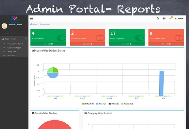 UC-School screenshot: Gain administrative insight from reports