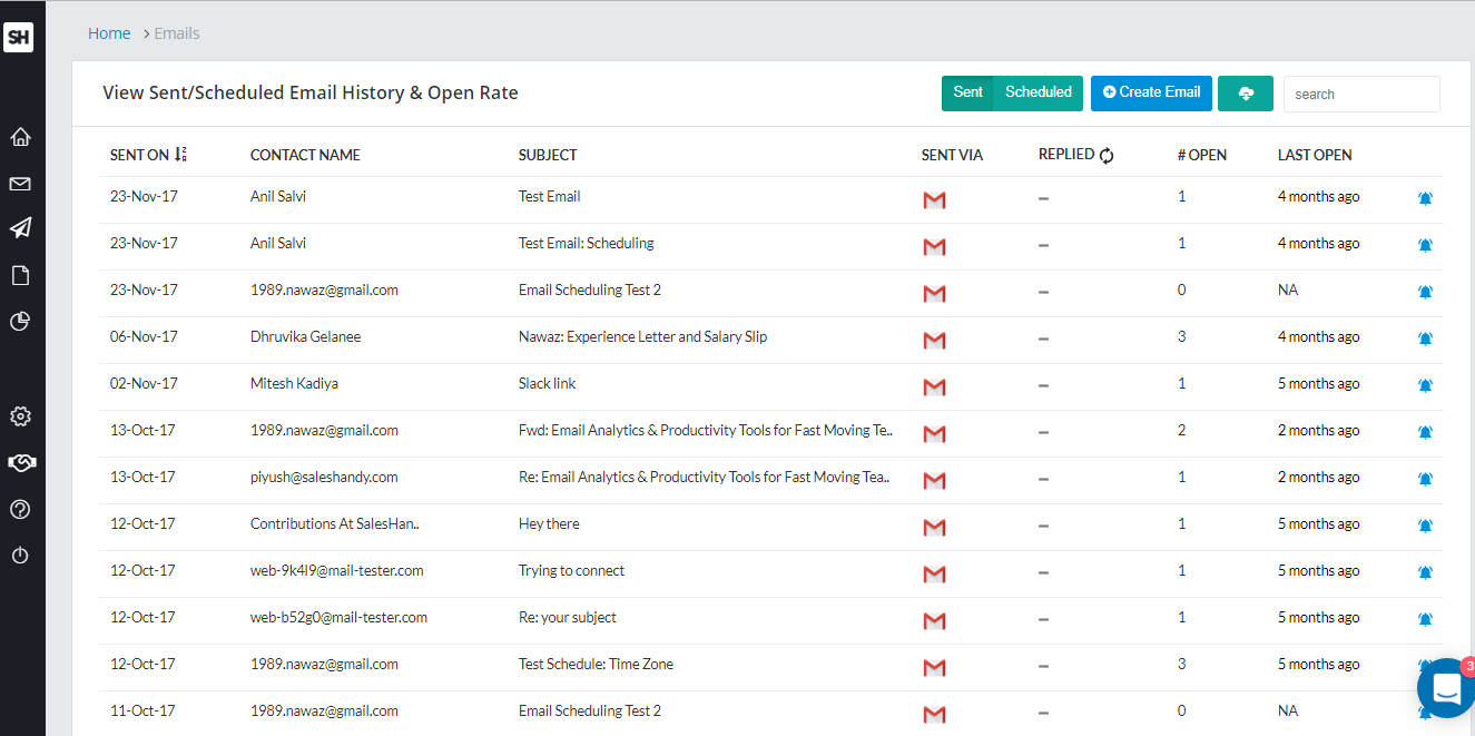 Email tracking history page