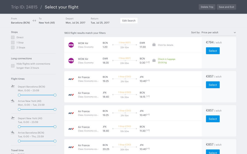 Access TravelPerk's travel inventory to search and book flights