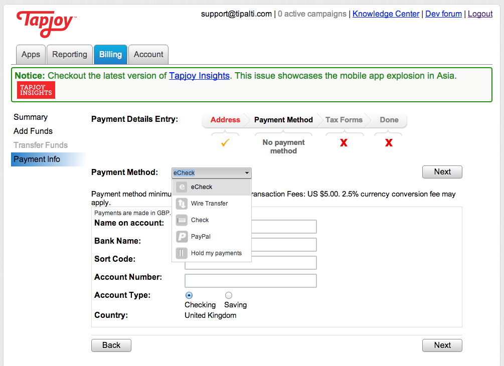Tipalti screenshot: Tipalti customer Tapjoy embeds the advertiser onboarding flow directly in their website with the iFrame