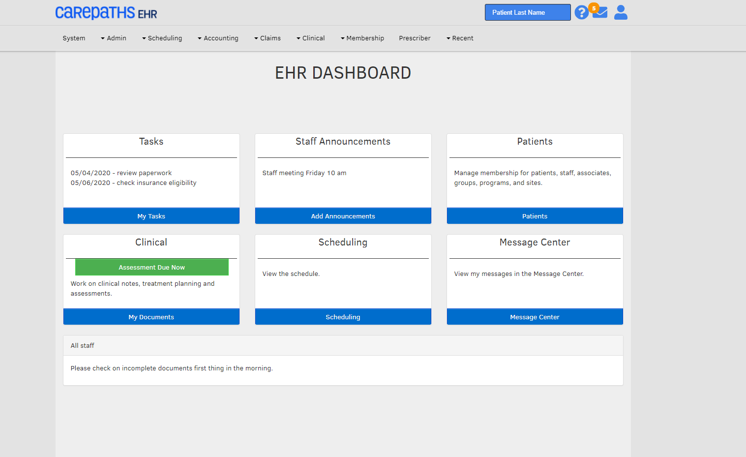 CarePaths EHR Software - CarePaths EHR Dashboard