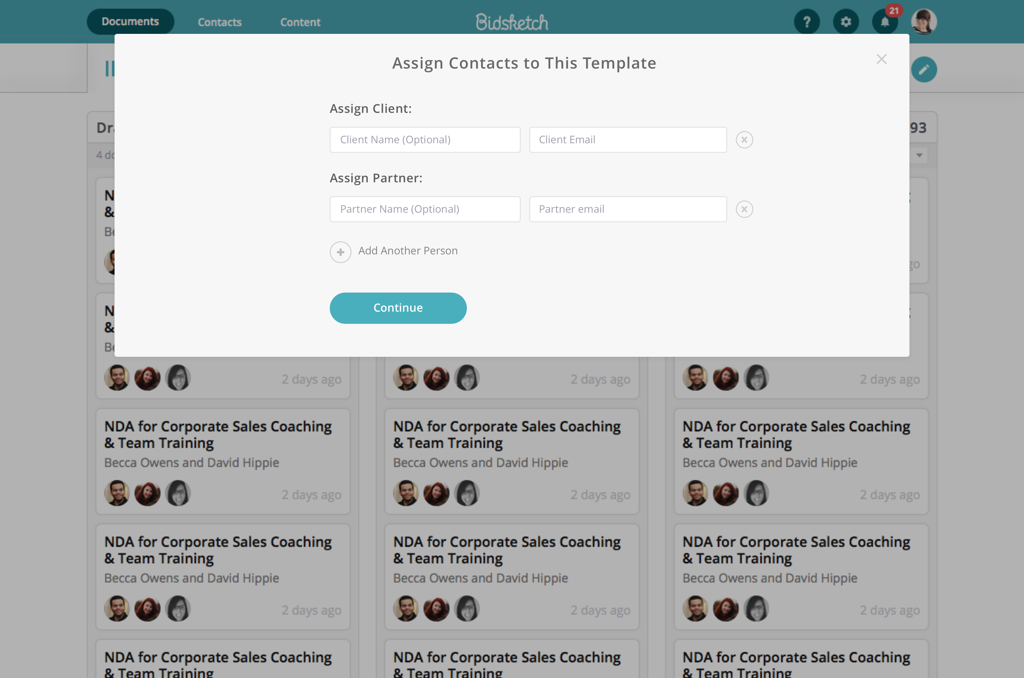 Assign contacts to templates