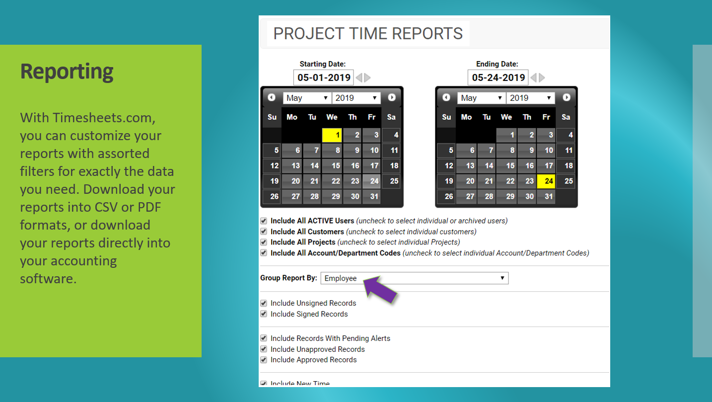 Powerful reporting tools for any need. Create payroll reports, billing reports, tardy reports, and more.