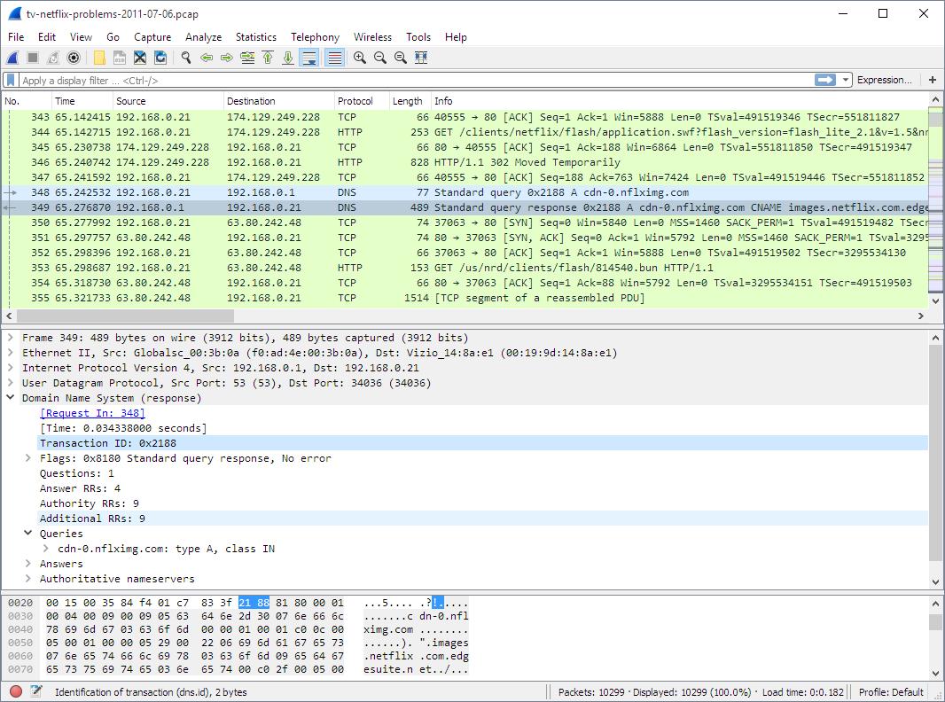 Wireshark analyzing network problems