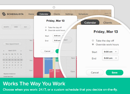 Users can set up custom work hours per provider
