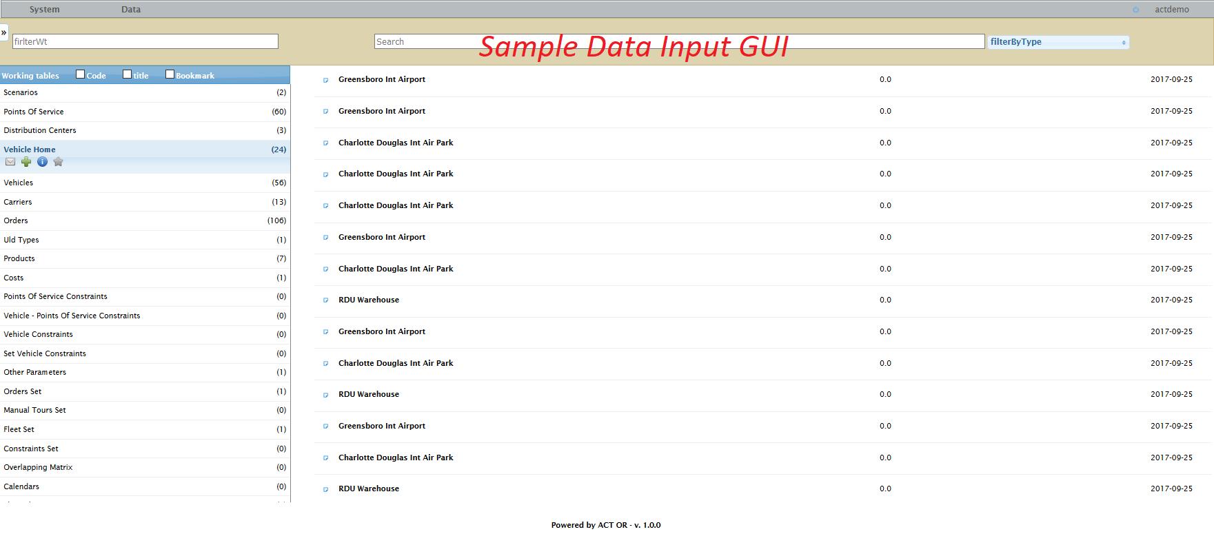 Data input GUI