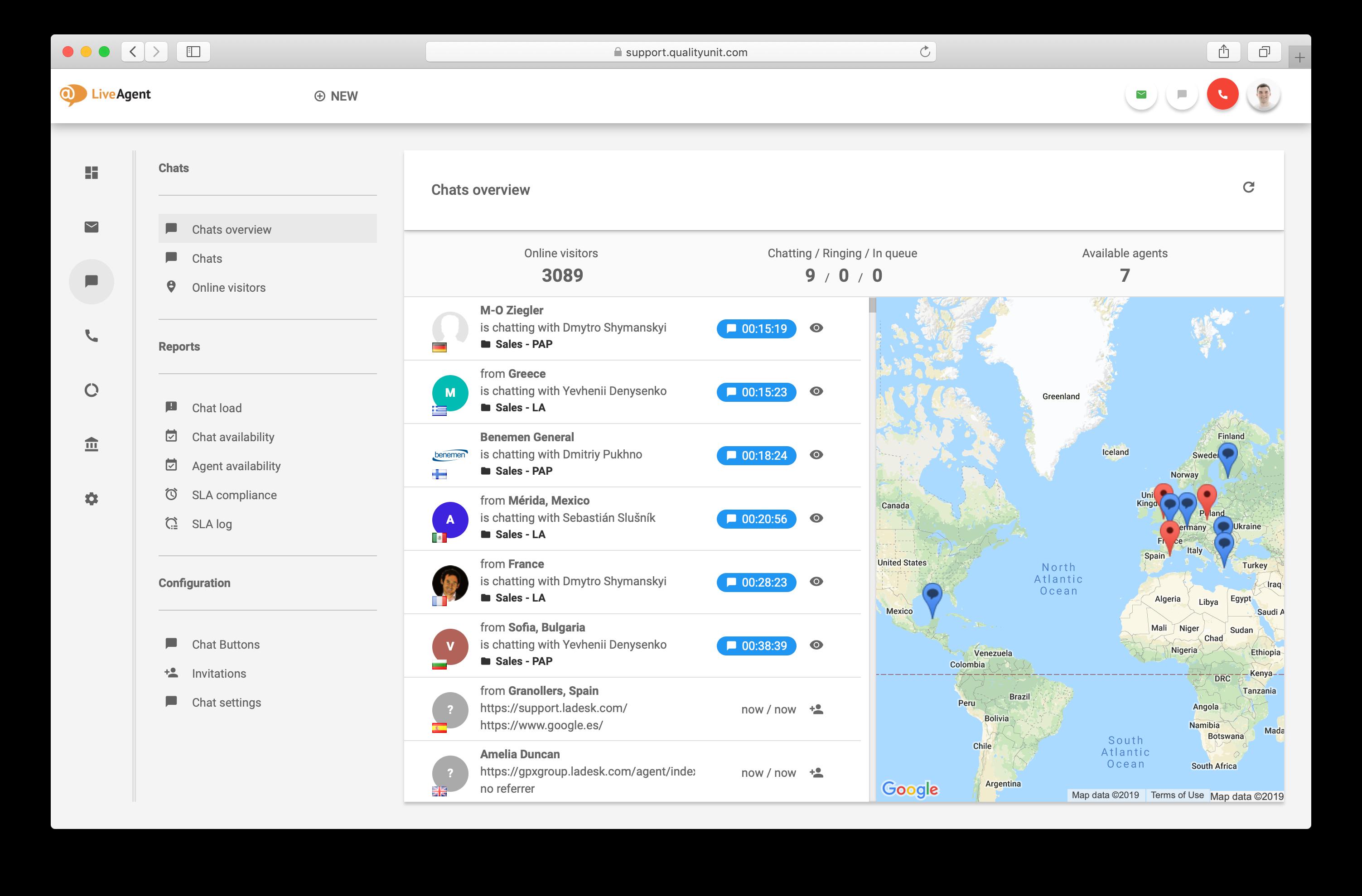 LiveAgent live chat overview