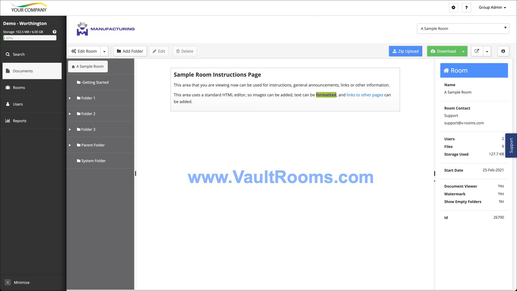 Vault Rooms screenshot: Documents Screen