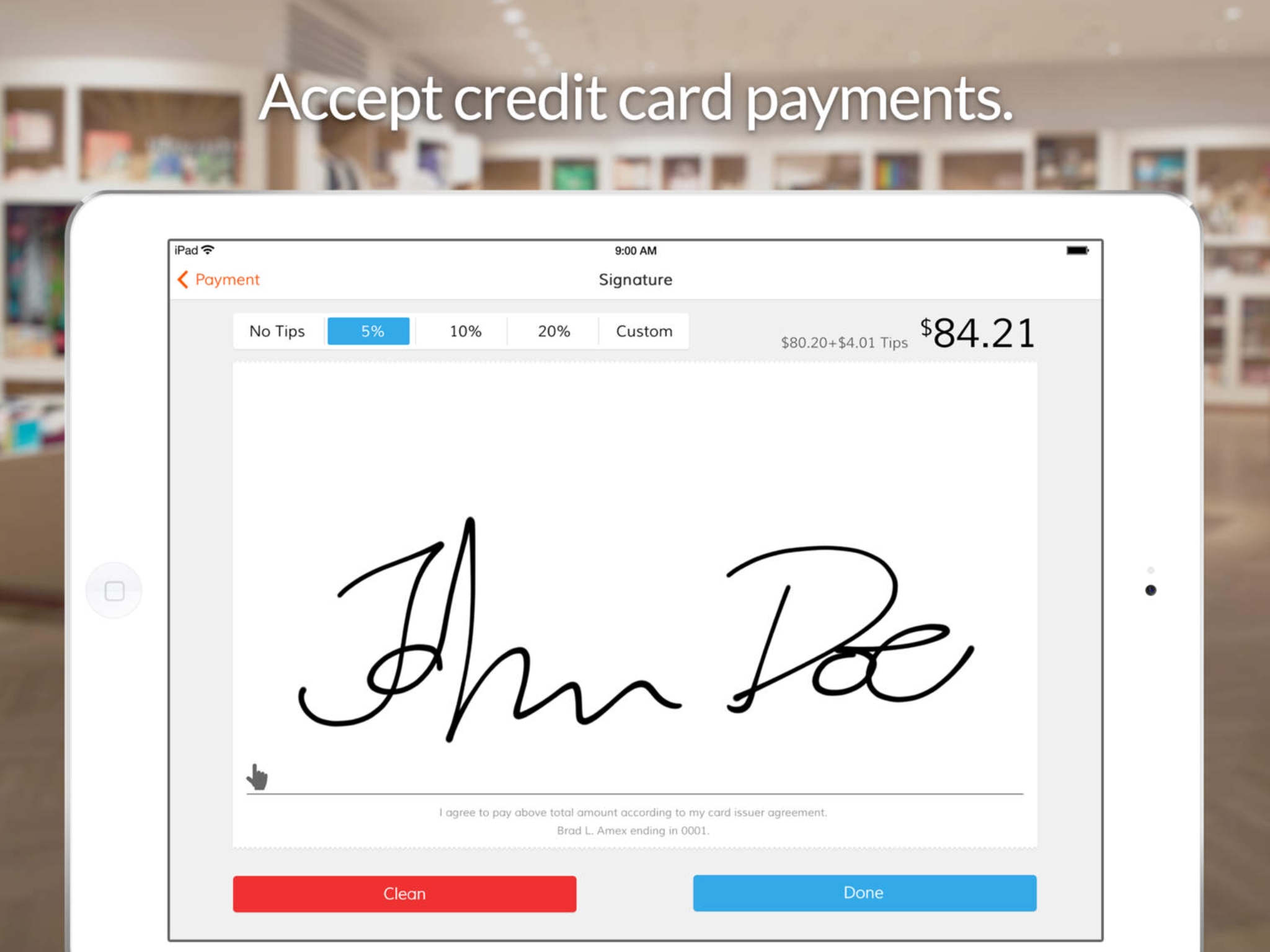 Accept credit card payments, tips and electronic signatures online via iPad