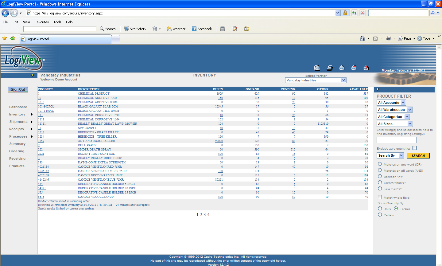 LogiView inventory screen
