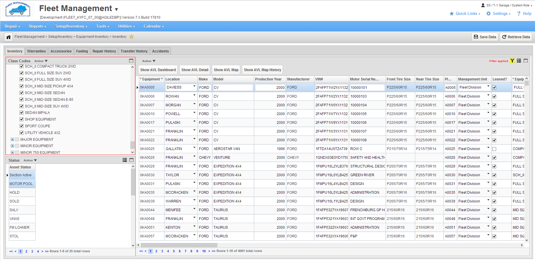 AgileAssets Software - Vehicle inventory
