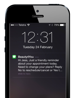 Automated SMS and email reminders are sent to clients to reduce no-shows