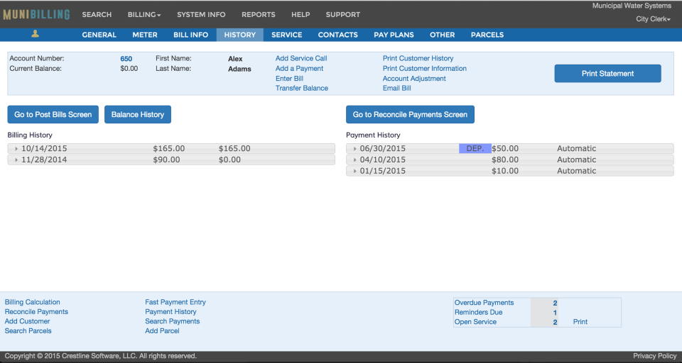 The Customer History tab itemizes and shows a customer's account transaction history with expandable billing details