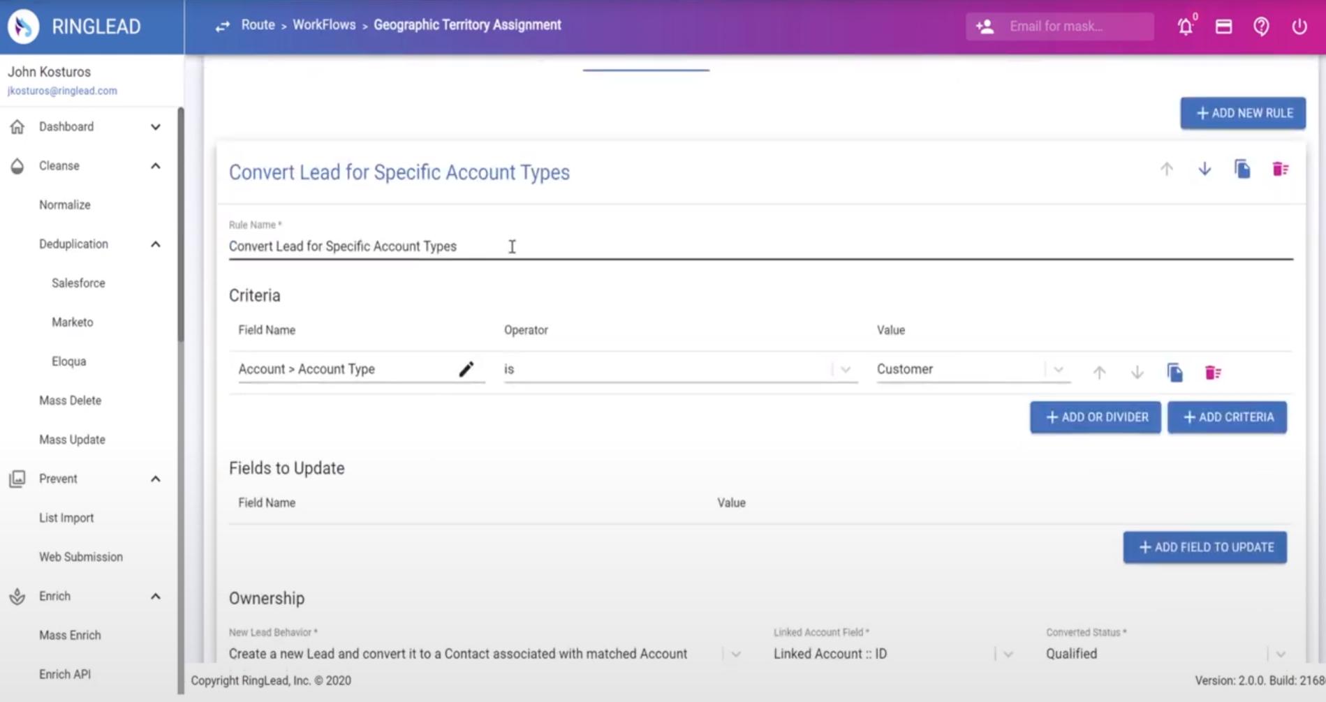 RingLead lead conversion account types