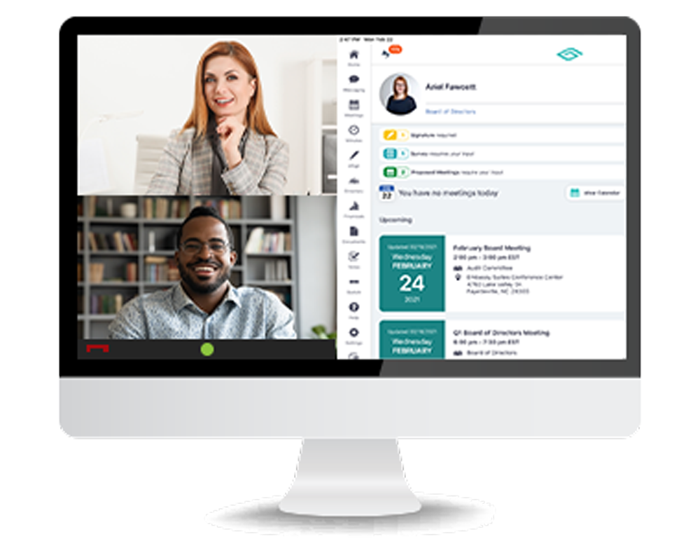 Schedule and attend board meetings within the platform