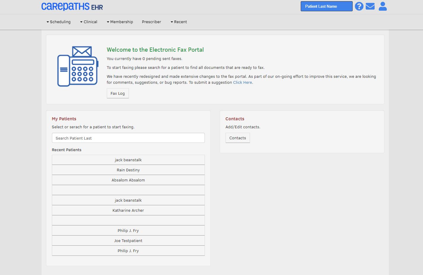 CarePaths EHR Software - eFax Portal