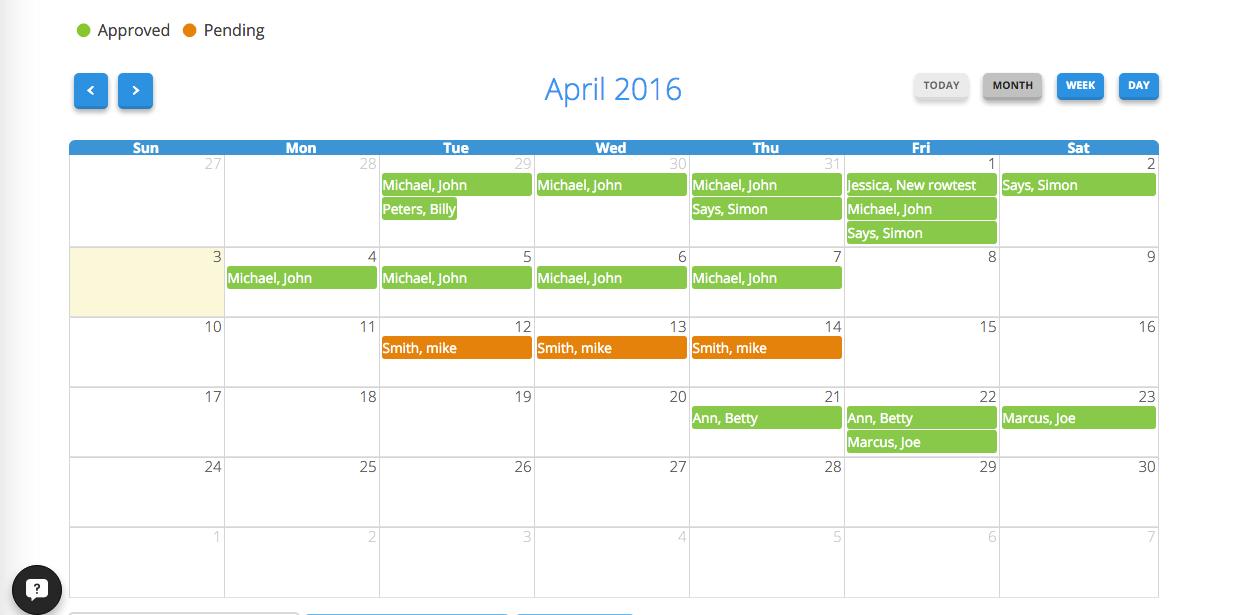 Absence calendar