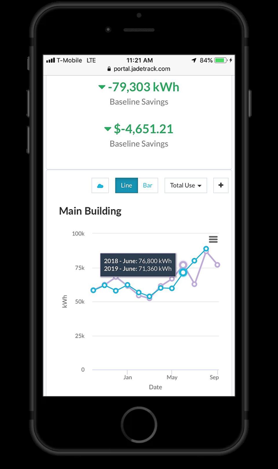 JadeTrack mobile interface