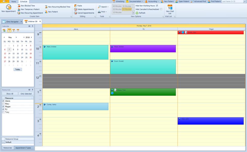 TheraOffice scheduling screenshot
