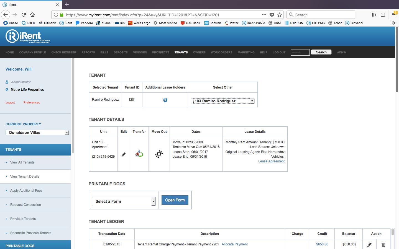 iRent Software - Tenant details