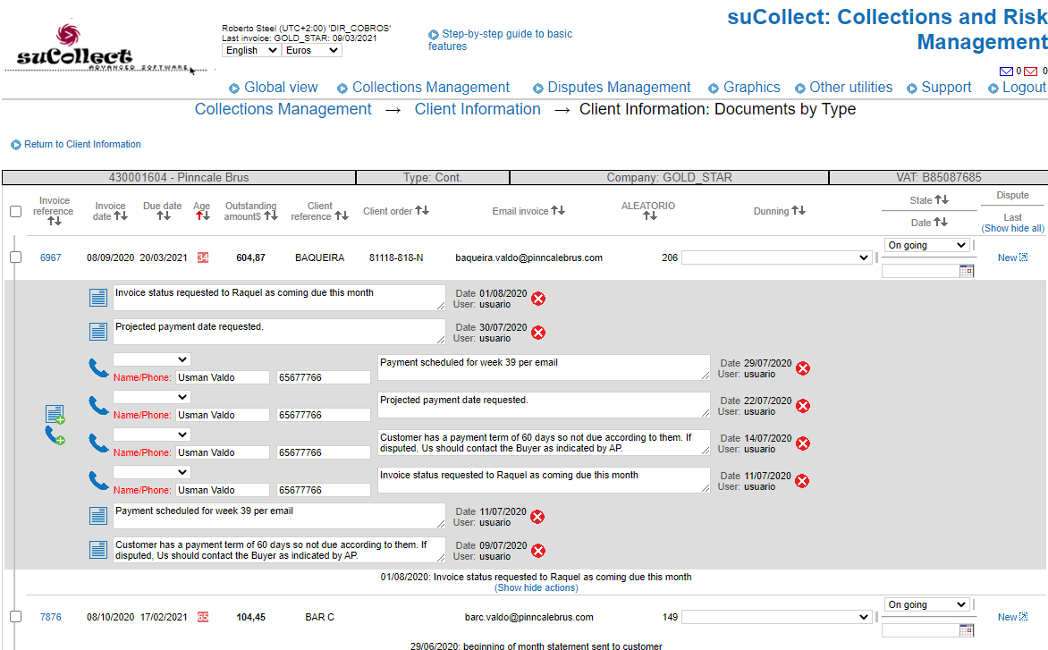 suCollect screenshot: Efficient collection management: pro-active Collection (prior to due date) and reactive Collection (past due date). Recording all follow-up activities.