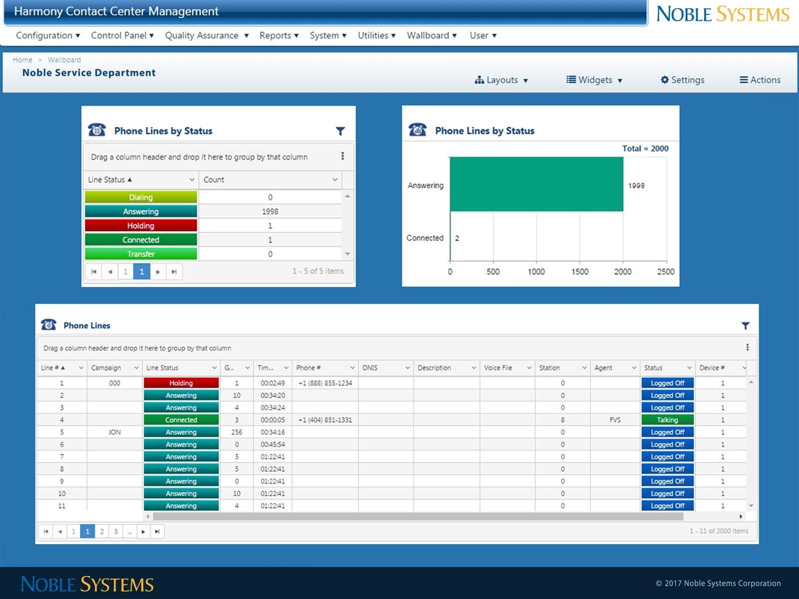 Noble Suite Software - Wallboard phone line status