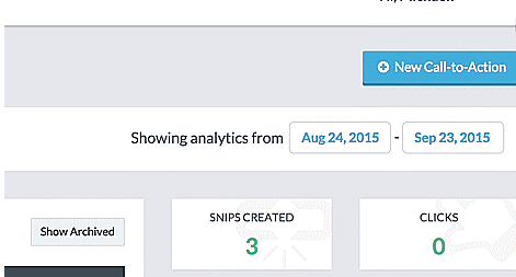 Track the number of snips created, and clicks made from the activity dashboard