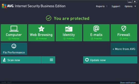 AVG Business Edition's control panel