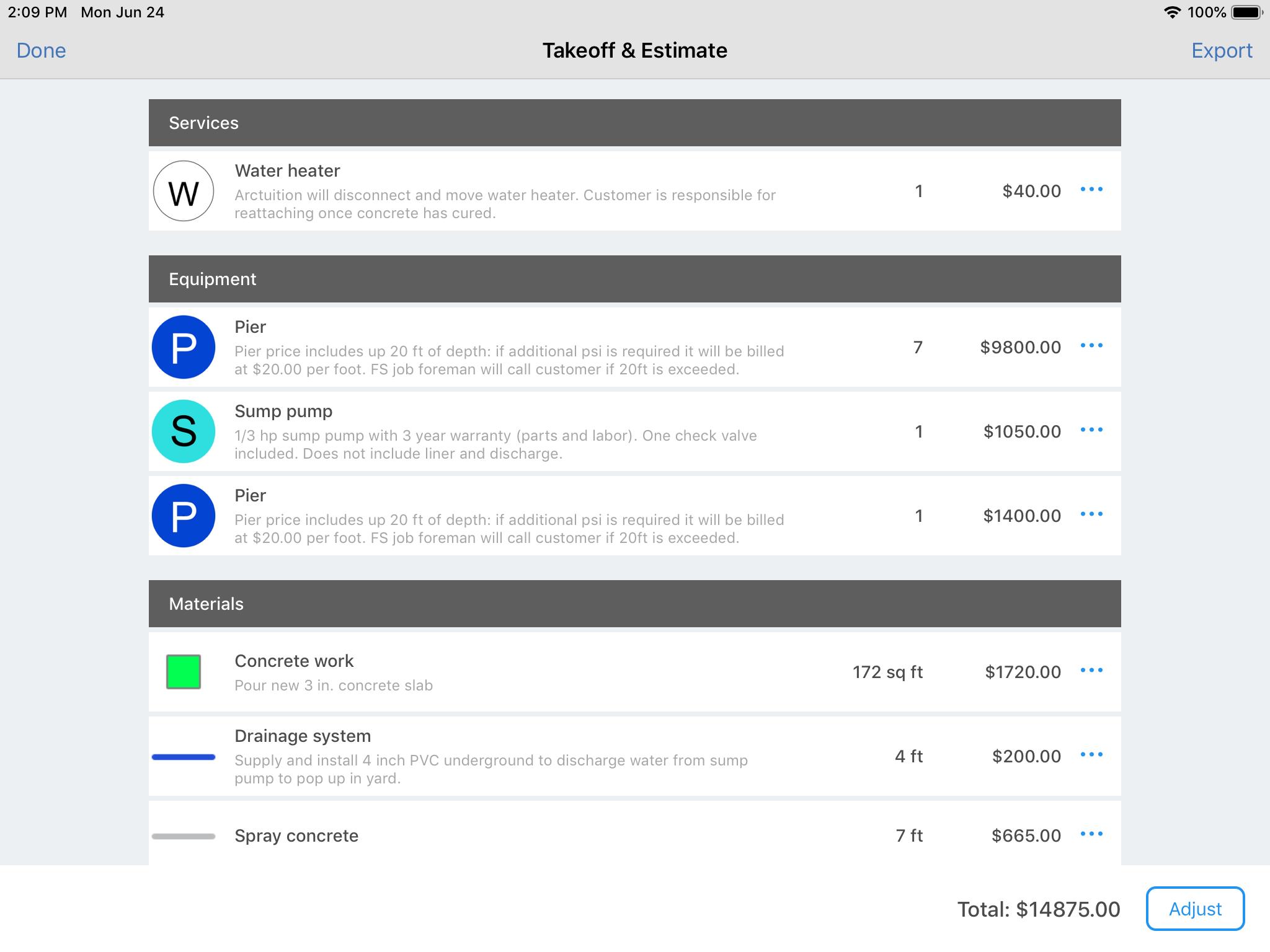 ArcSite Software - Generate Quantities of Materials
