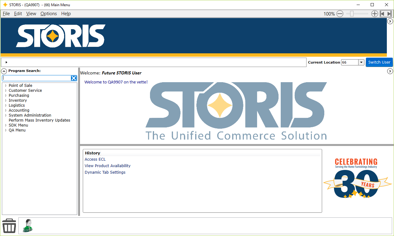 STORIS Software - Point of Sale screen