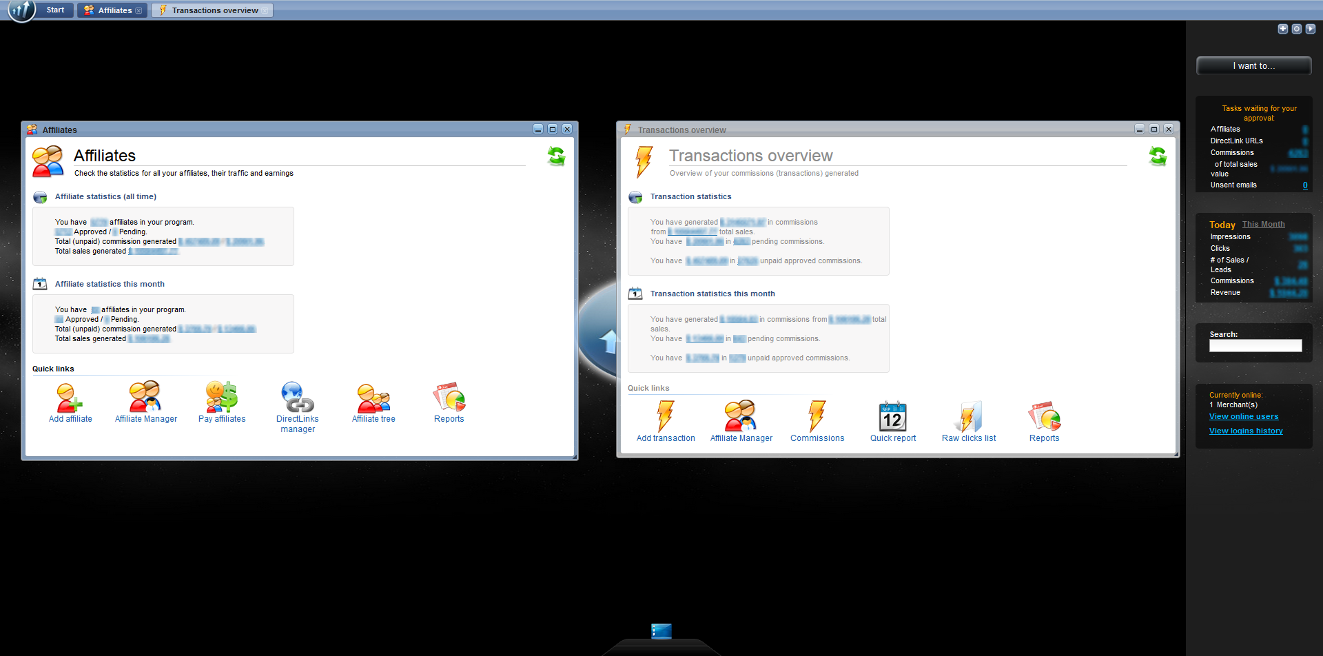 Post Affiliate Pro Software - Post Affiliate Pro 4 Interface