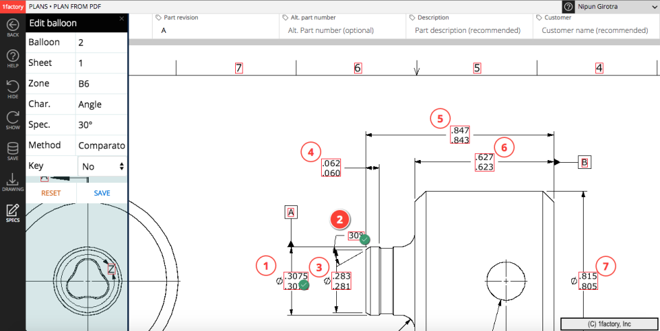 PDF Drawing Ballooning and First Article Inspection (FAI) capabilities automatically read and identify features on a drawing, using point and click editing to add balloons