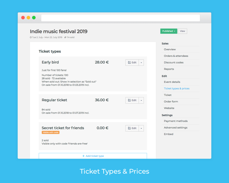 Set up ticket types, prices, quantities, dates, and discounts