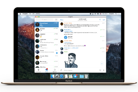 The Telegram desktop application client running on macOS, showing contacts and chat messaging UI