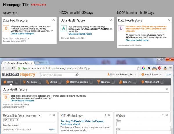 eTapestry's data health scorecards ensure data quality